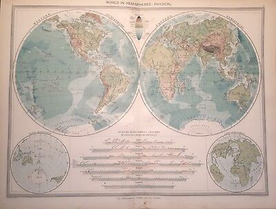 Antique Large Map c1906 World in Hemispheres Physical Western Eastern Water Land