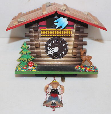 Vintage German Cuckoo Clock Mechanical Untested Wooden Forest Deer Bird Germany