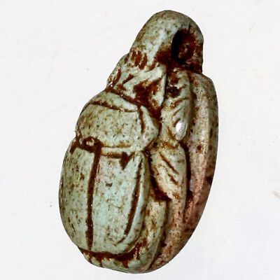 Ancient Egyptian Colored Glazed Bead Seal Scarab