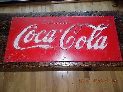 COCO COLA Heavy Metal Sign Early 27.5x12 Advertising Sign Weighing 6 pounds