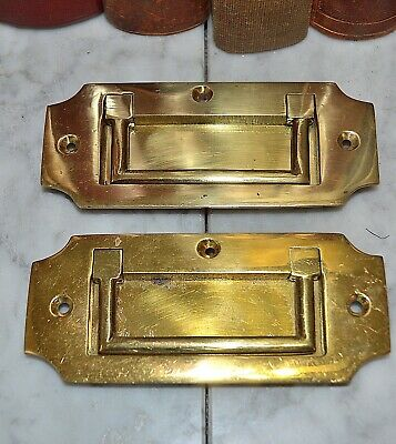 Vintage Large English Brass Campaign Military Chest Drawer Pull Handle
