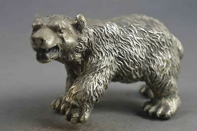 Collectable Handwork Decor Old Miao Silver Mighty Bear Ancient Exorcism Statue