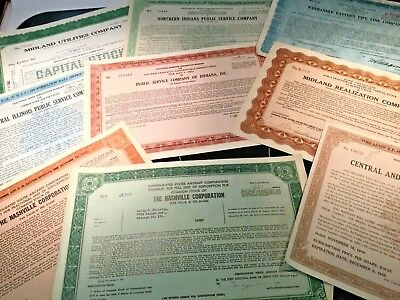 Vintage 1940s lot of 18 obsolete stock certificates