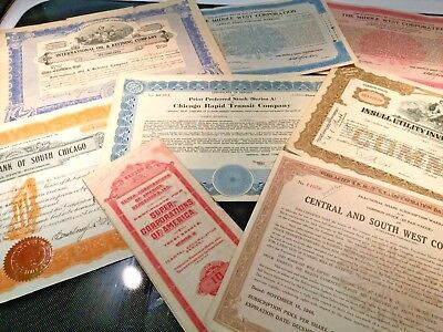 Vintage lot of 19 stock certificates