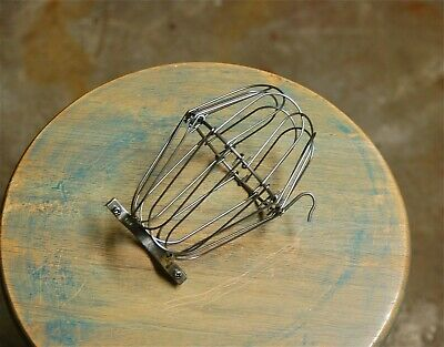 White Wire Bulb Cage - Clamp On Lamp Guard, Vintage Style Industrial Lighting