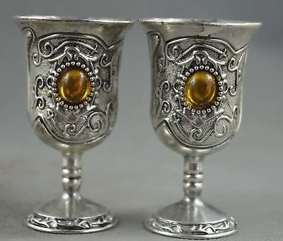 Chinese Collectable Old Miao Silver Carve Flower Rattan Inlay Agate Two Wine Cup