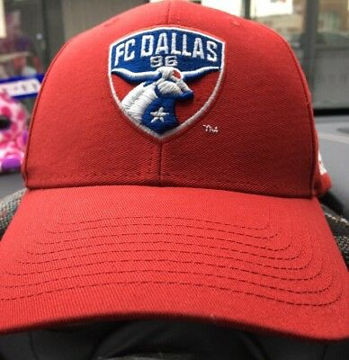 6bedb4b5f9a ADIDAS FC DALLAS Red Authentic Team Structured Adjustable Hat ...