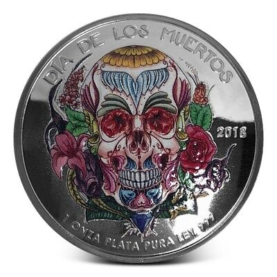 Dia De Los Muertos - Day Of The Dead Domed Silver Color PF Capsuled Round W/COA