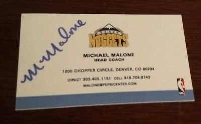 Michael Malone Denver Nuggets Head Coach Autographed Hand Signed Business Card