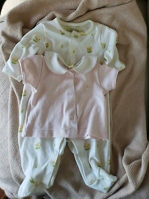 Pixie Lily nb girl 0-6 mos pink shirt, 0-3 deer sleeper, pima cotton