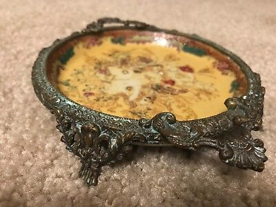 Hand-painted porcelain plate with brass trim and Hwua Rong Tang mark