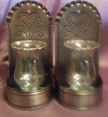 Vintage Home Interiors Pair of Metal & Glass Heart Wall Sconces Candle Holders