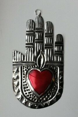 Mexican tin decoration hand with cross