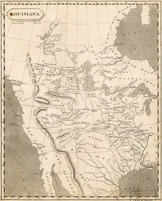 A4 Reprint of Old Maps 1800S Map Reprint Louisiana Down To Gulf Of Meico