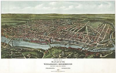 A4 Reprint of Map 1907 Manayunk Wissahickon Roxborough Philadelphia PN