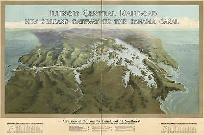 A4 Reprint of Map 1917 Illinois Panama Canal Est. Completion & Dates