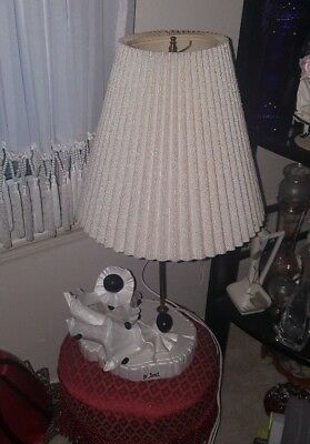 23 Inch Twin Pierrot Clowns Table Lamp Beige Accordion Style Lampshade