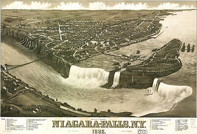 A4 Reprint of Map 1882 Nigara Falls & Surrounding Countryside in Detail