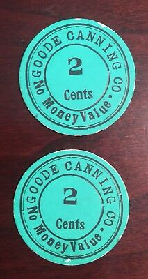 2 Goode Canning Co. 1912 Franklin County, VA Tokens