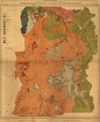 A4 Reprint of Map 1878 Preliminary Geological Yellowstone National Park