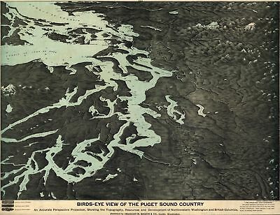 A4 Reprint of Old Maps 1891 Puget Sound Country Map