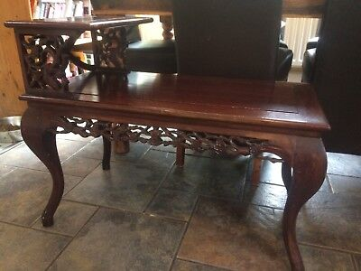 Asian/Oriental Rosewood Side Table with Intricate Carving from Malaysia