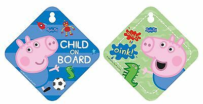 George Pig 'Child on Board' Double Sided Car Window Sign Blue Baby on Board
