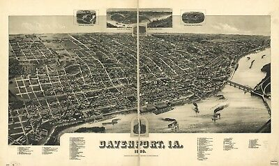 A4 Reprint of American Cities Towns States Map Davenport Iowa