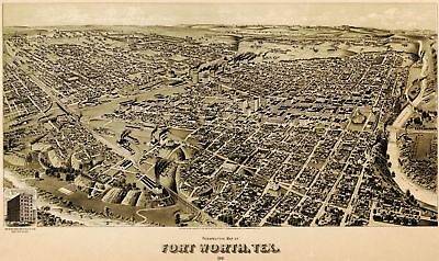 A4 Reprint of Old Maps Fort Worth 1891