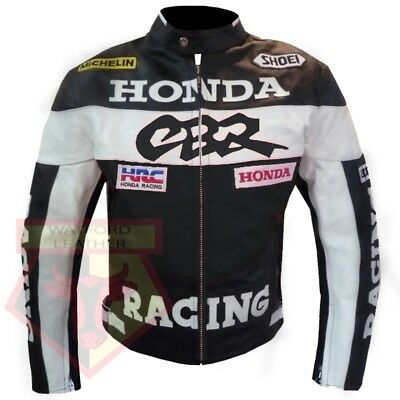 Honda Cbr Black Motorbike Motorcycle Bikers Cowhide Leather Armoured Jacket