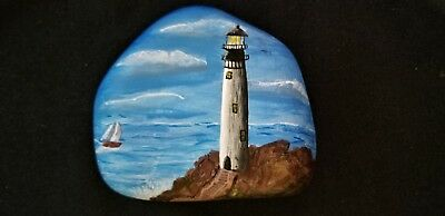 Lighthouse, Hand Painted River Rock, Stone, Art, Acrylic, Paper weight, Zen,Gift
