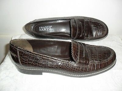 Franco Sarto Women's Size 9M CROC Leather Loafers - Brown