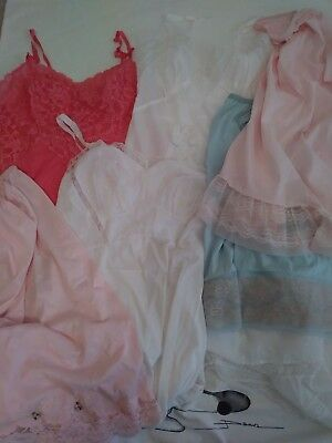 Vintage lot of nylon and lace slips - Vanity Fair, Lorrain, Seamprufe