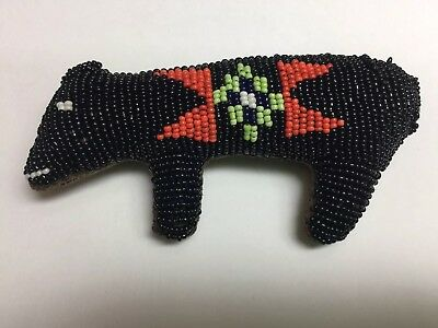 Native American  Sioux Indian Beaded Leather Black Bear Umbilical Fetish,