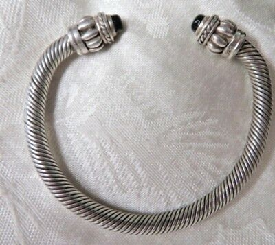 """Exquisite, Vintage Heavy Braided 6"""" Sterling Bangle With  Black Onyx 41 Grams"""