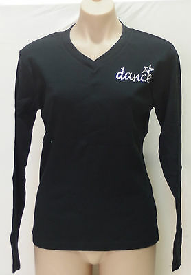 Womens Long Sleeve Top with Rhinestone Dance Logo Black Cotton Knit, Size 16 NWT