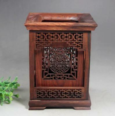 Chinese rosewood Wood Carving Hollow Out Brush Pot pencil Holder d02