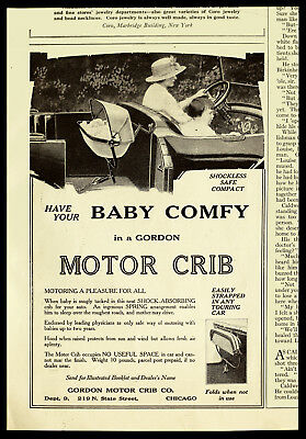 1915 Antique GORDON Motor Crib Foldable Baby Car Seat RARE Vtg PRINT AD