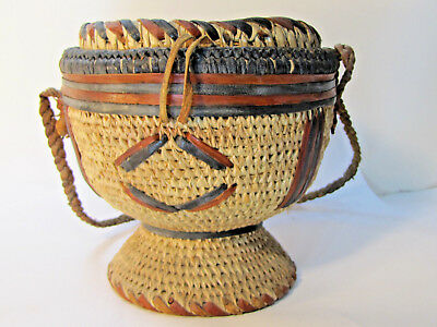 Vintage African Basket with Lid, Leather Trim NICE