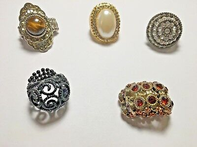 Womens Stretch Ring Collection Lot of 5 Big Bold Antique Inspired Jewelry