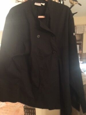 Chef Works SIZE LARGE Black Jacket long sleeve Polyester/ Cotton FRONT BUTTONS