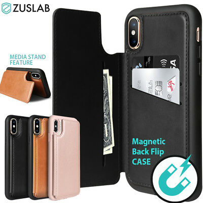 iPhone X XS Max XR Case Shockproof Card Slot Leather Wallet Magnetic Stand Cover
