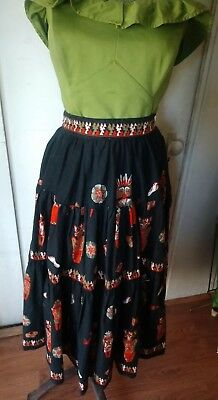 Vintage 50s/60s Tiered Novelty Print Skirt