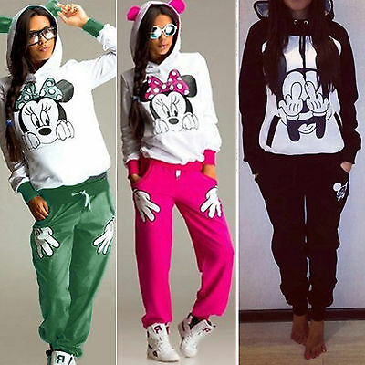2Pcs Womens Mickey Tracksuit Hoodie Sweatshirt Tops Pants Set Sport Sweat Suits