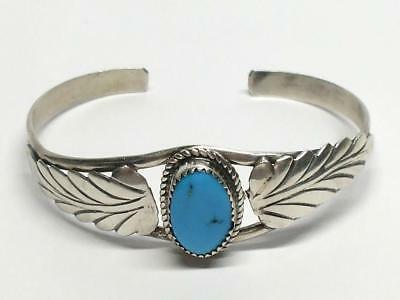 Native American Navajo Larry Moses Yazzie Sterling Silver Turquois Cuff Bracelet