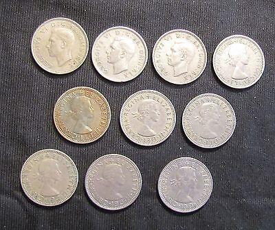 Lot of 10 Great Britain 1 Shilling Coins - 1947, 1948, 1950, 1953, 1955, 1956