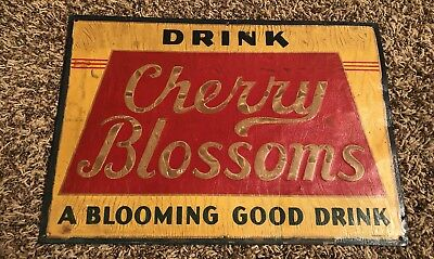 "Drink Cherry Blossoms ""A Blooming Good Drink"" Tin Sign Soda Pop Stout Sign"