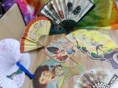 ADVERTISING cardboard Hand Fans PATRIOTIC medicinal DAMAGED oriental JUNK DRAWER