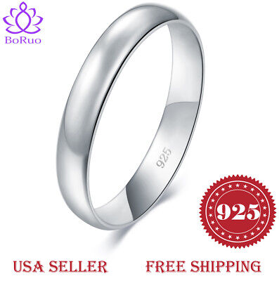 BORUO 925 Sterling Silver Ring Plain Dome Comfort Fit Wedding Band 4mm Size 4-12