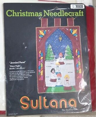 Sultana Christmas needlecraft #32121 Jeweled Panel Silent Night sealed complete